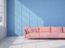 Interior moderno com parede azul e o sofá cor-de-rosa rendição 3d Fotografia de Stock
