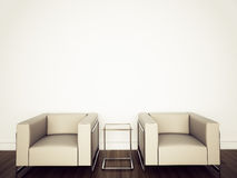 Interior moderno com rendição 3d Imagens de Stock Royalty Free