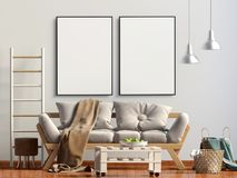 Interior moderno com sofá Zombaria do cartaz acima Foto de Stock