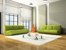 Interior moderno com sofás verdes Fotos de Stock Royalty Free