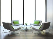 Interior moderno con cuatro butacas y tablas del coffe Fotos de archivo libres de regalías