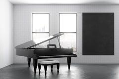 Interior moderno con el piano y el cartel Imágenes de archivo libres de regalías