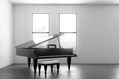 Interior moderno con el piano y el copyspace Foto de archivo