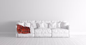 Interior moderno con el sofá blanco Foto de archivo libre de regalías