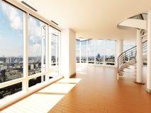 Interior moderno con la escalera que pasa por alto una ciudad Imágenes de archivo libres de regalías