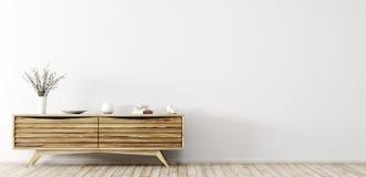 Interior moderno con la representación de madera del aparador 3d libre illustration
