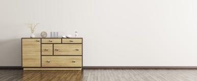 Interior moderno con la representación de madera del panorama 3d del aparador Fotografía de archivo libre de regalías