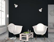 Interior moderno con la silla plástica mofa de la pared para arriba illustratio 3D Fotografía de archivo libre de regalías