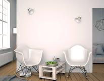 Interior moderno con la silla plástica mofa de la pared para arriba illustratio 3D Fotografía de archivo