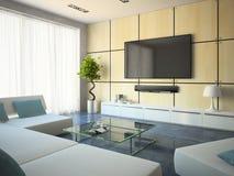 Interior moderno con los sofás y la lámpara blancos fotos de archivo libres de regalías