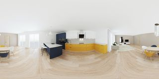 Interior moderno da casa com cozinha amarela Foto de Stock Royalty Free
