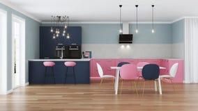 Interior moderno da casa Cozinha cor-de-rosa Foto de Stock