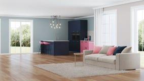 Interior moderno da casa Cozinha cor-de-rosa Imagem de Stock Royalty Free