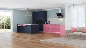 Interior moderno da casa Cozinha cor-de-rosa Foto de Stock Royalty Free