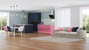 Interior moderno da casa Cozinha cor-de-rosa Imagens de Stock