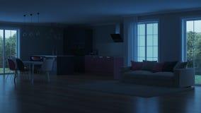 Interior moderno da casa Cozinha cor-de-rosa Fotografia de Stock Royalty Free