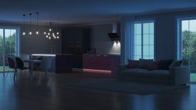 Interior moderno da casa Cozinha cor-de-rosa Fotos de Stock Royalty Free