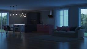 Interior moderno da casa Cozinha cor-de-rosa Imagem de Stock