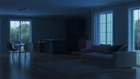 Interior moderno da casa Cozinha cor-de-rosa Imagens de Stock Royalty Free