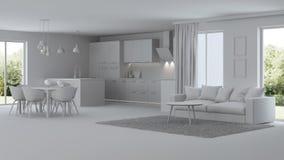 Interior moderno da casa reparos Interior cinzento Fotos de Stock Royalty Free