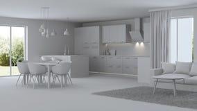 Interior moderno da casa reparos Interior cinzento Fotografia de Stock