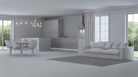 Interior moderno da casa reparos Interior cinzento Foto de Stock Royalty Free