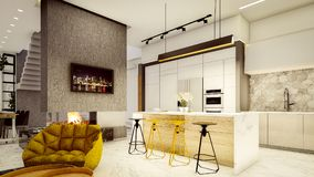 Interior moderno da chaminé da cozinha e do fogo ilustração do vetor