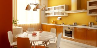Interior moderno da cozinha Fotografia de Stock