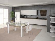 Interior moderno da cozinha Ilustração Stock