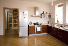 Interior moderno da cozinha Imagens de Stock Royalty Free