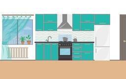 Interior moderno da cozinha com mobília e dispositivos do cozimento projeto liso da cozinha ilustração royalty free
