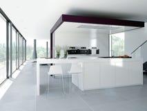 Interior moderno da cozinha Conceito de projeto 3d Foto de Stock Royalty Free
