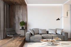 Interior moderno da sala de visitas com parede vazia, sofá, cadeira de sala de estar, tabela, a parede de madeira e o assoalho fotos de stock