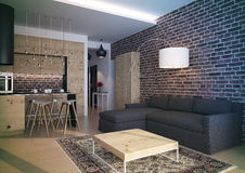 Interior moderno da sala de visitas do sótão Fotos de Stock Royalty Free