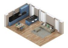 Interior moderno de la casa Cocina azul Proyección ortogonal Visión desde arriba stock de ilustración