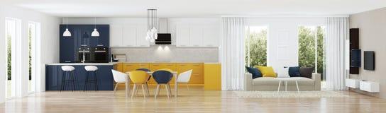 Interior moderno de la casa con la cocina amarilla Imágenes de archivo libres de regalías