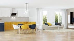 Interior moderno de la casa con la cocina amarilla Fotos de archivo
