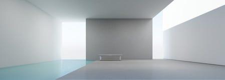 Interior moderno de la casa con la piscina Foto de archivo