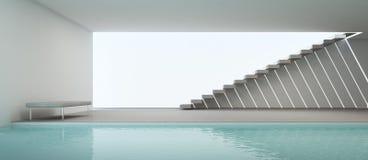 Interior moderno de la casa con la piscina y la pared blanca Fotografía de archivo libre de regalías
