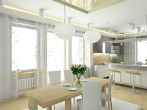 Interior moderno de la casa grande del kitchenin