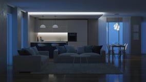 Interior moderno de la casa Iluminación de la tarde noche almacen de metraje de vídeo