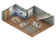 Interior moderno de la casa Proyección ortogonal Visión desde arriba libre illustration