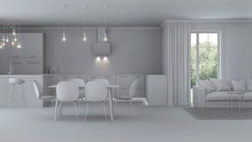 Interior moderno de la casa reparaciones Interior gris Imagenes de archivo