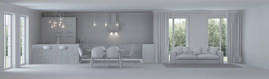 Interior moderno de la casa reparaciones Interior gris Foto de archivo libre de regalías