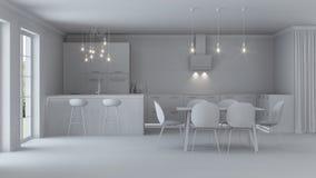 Interior moderno de la casa reparaciones Interior gris Imagen de archivo