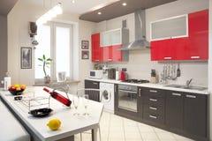 Interior moderno de la cocina Imagen de archivo libre de regalías