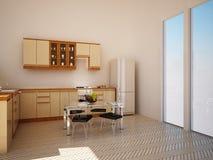 Interior moderno de la cocina Imágenes de archivo libres de regalías
