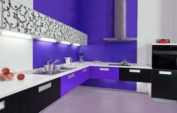 Interior moderno de la cocina blanca azul Imágenes de archivo libres de regalías