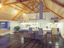 Interior moderno de la cocina del ático ilustración del vector