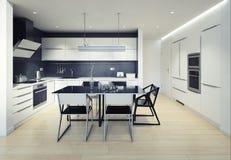 Interior moderno de la cocina del bla ilustración del vector